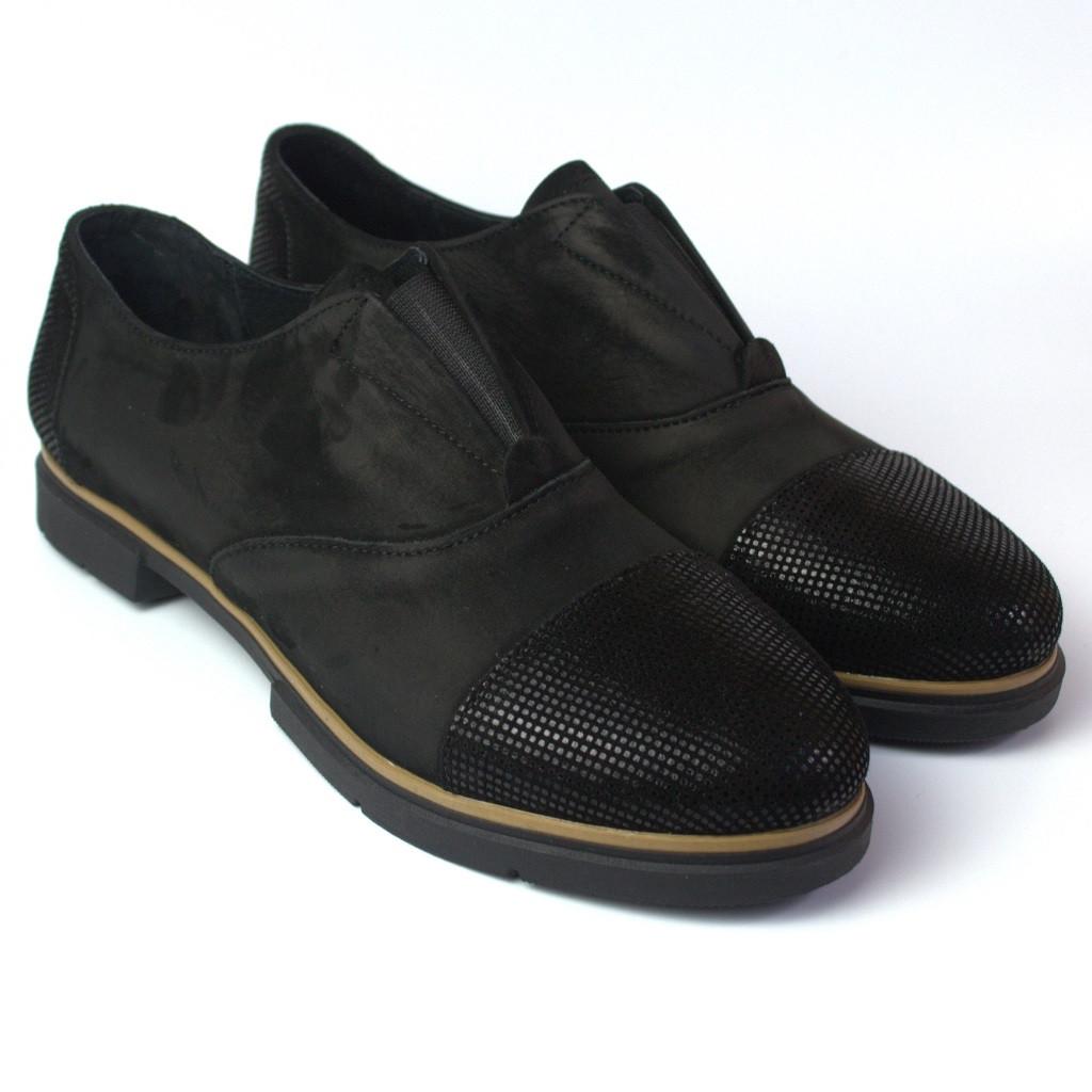 Туфли женские оксфорды на резинке натуральный нубук Sei un mio Black Nub by Rosso Avangard