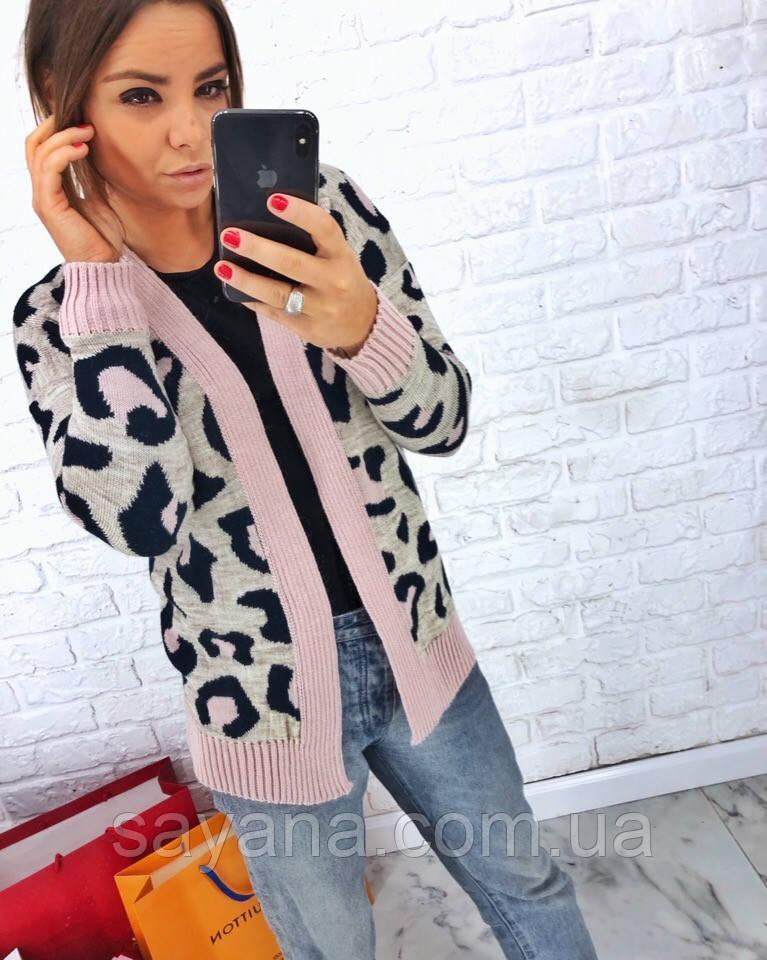 d7fe511af0c Купить Женскую вязаную кофту с леопардовым принтом. АВ-5-0319 ...