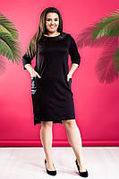 Стильное женское платья больших размеров! Цвет: черный, арт 0011