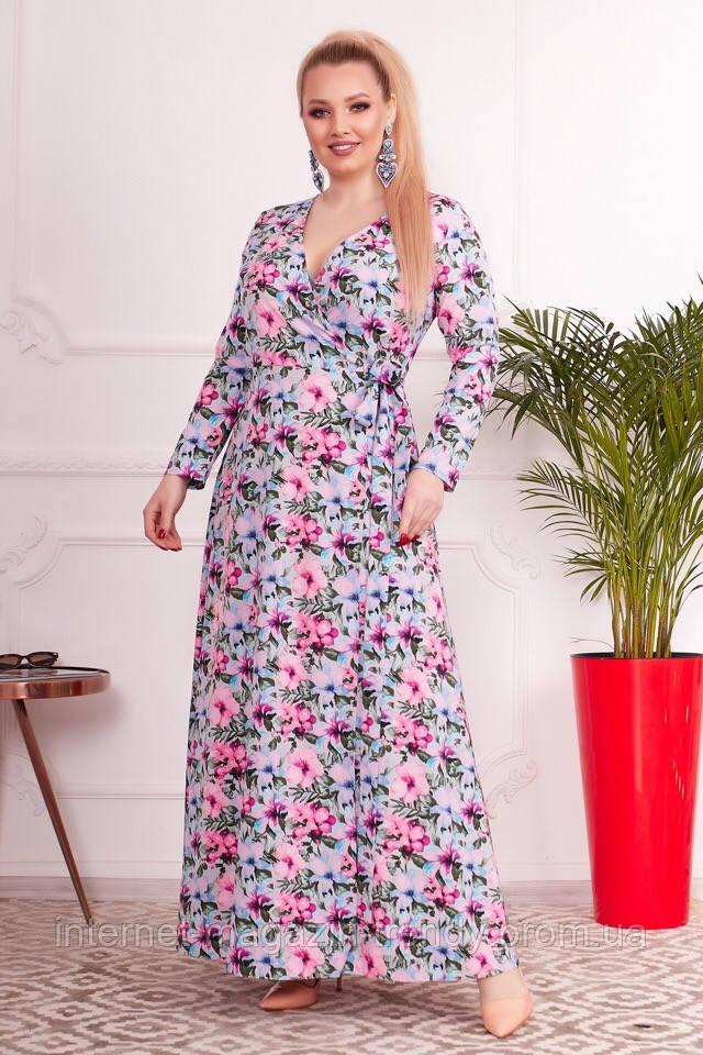 Платье батал на запах, с цветочным принтом АБС10131259