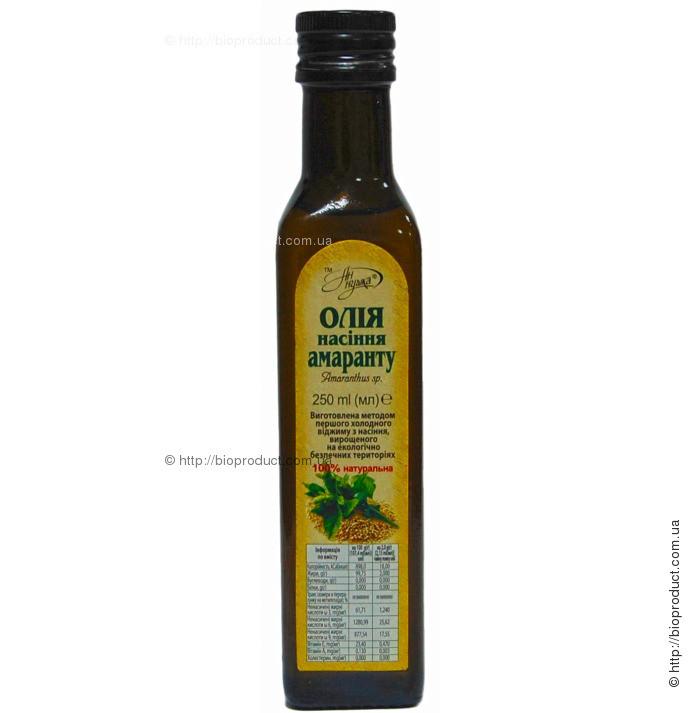 Олія насіння амаранту, 250 мл, скло темного кольору, пробка металева з дозатором
