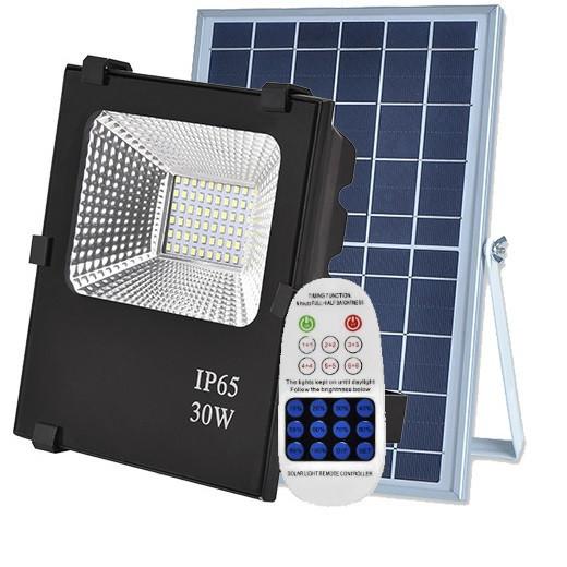 Светодиодный led прожектор 30W на солнечной батарее с пультом