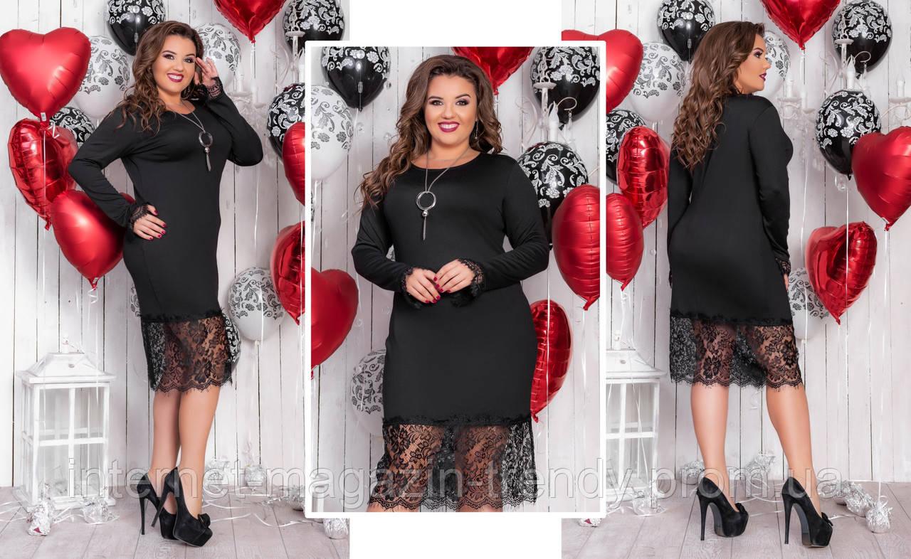 Платье батал  с кружевом (3 расцветки) АБС10131254