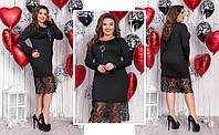 Платье батал  с кружевом (3 расцветки) АБС10131254, фото 1