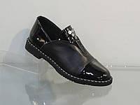 Стильные женские туфли на резинке лак/кожа натуральная