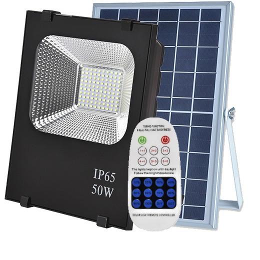 Светодиодный led прожектор 50W на солнечной батарее с пультом. Лед фонарь