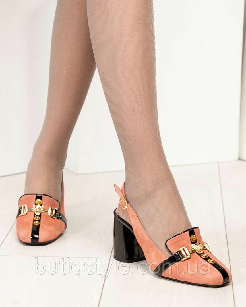 Женские туфли темная пудра  Mario Muzi с открытой пяточкой натуральный велюр, Турция