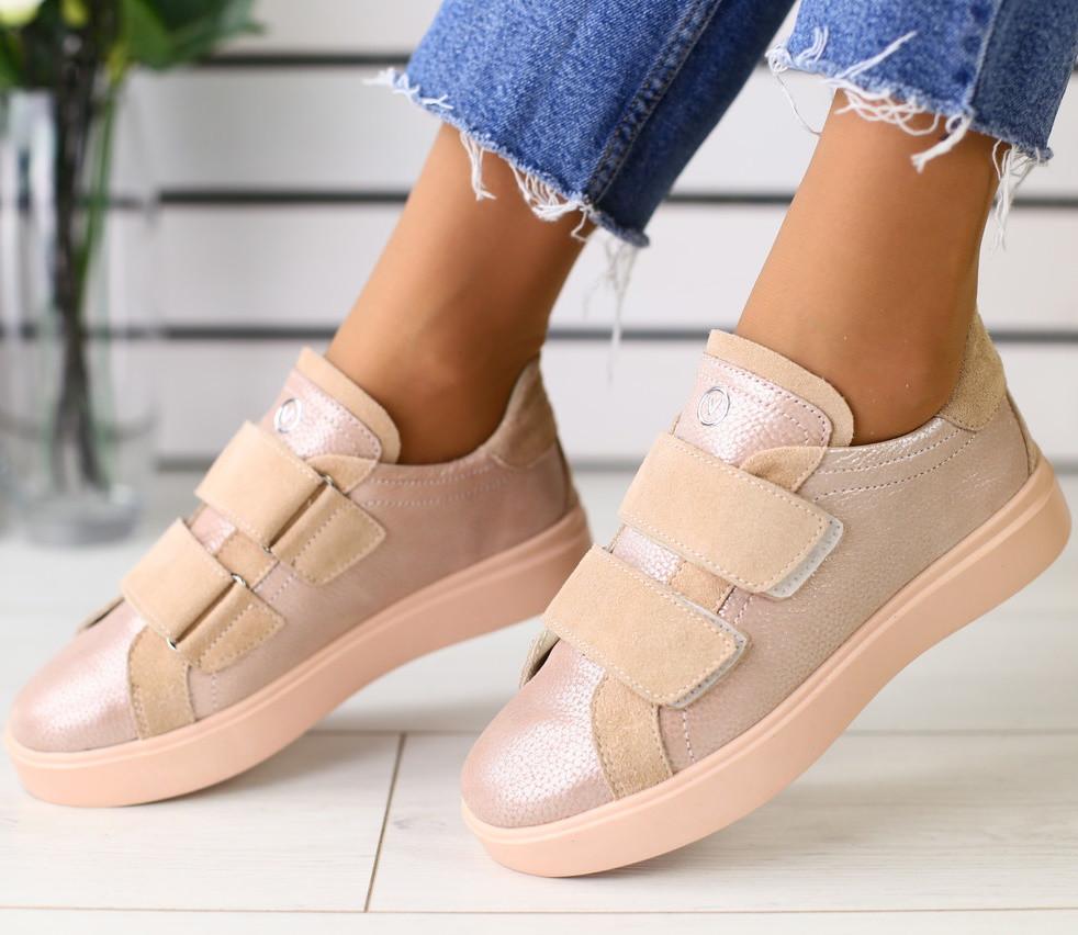 79d4fe765 Модные женские кожаные кроссовки кеды на платформе на липучках пудра  замшевые вставки JK69LT18RS - TOP SECTOR