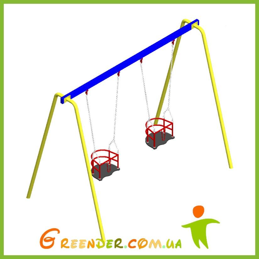 Качель двойная с гибким подвесом и сидениями для маленьких деток на уличных площадках