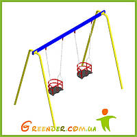 Качель двойная с гибким подвесом и сидениями для маленьких деток на уличных площадках, фото 1