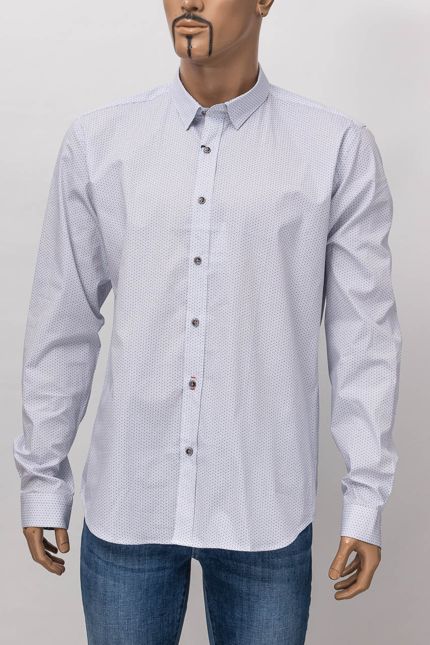 Рубашка с длинным рукавом мужская ZEN-ZEN 00524 BEYAZ/INDIGO