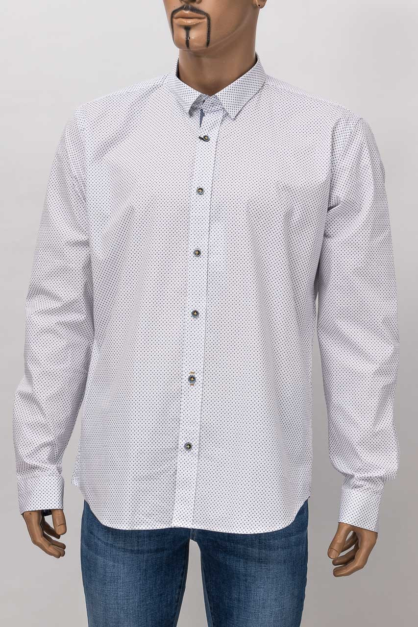 Рубашка с длинным рукавом мужская ZEN-ZEN 00524 BEYAZ/INDIGO 01