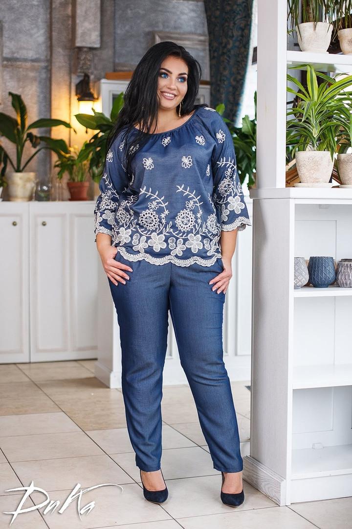 d3d5c36f4fd5 Женский брючный костюм двойка блуза+штаны лен+вышивка размер:42-44