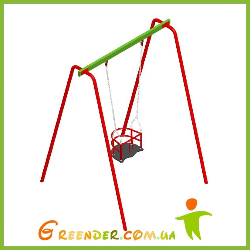 Качель одинарная с гибким подвесом и сидением для маленьких деток