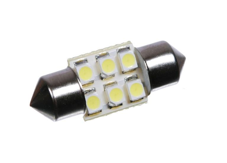 Светодиодная автолампа T10, 28mm, 6pcs 3528