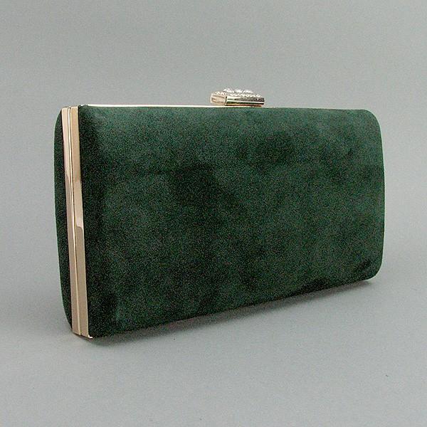Клатч-бокс сумочка замшевая женская зеленая 8119