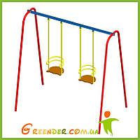 Качель двойная на жостком подвесе детская цветная, фото 1