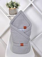 """Вязанный конверт-одеяло  """"Familia"""" (подклад хлопок) серый, фото 1"""