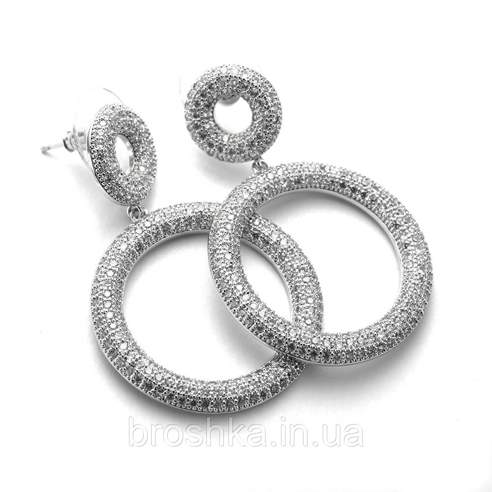 Вечерние длинные серьги кольца с белыми камнями бижутерия