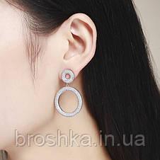 Вечерние длинные серьги кольца с белыми камнями бижутерия, фото 2
