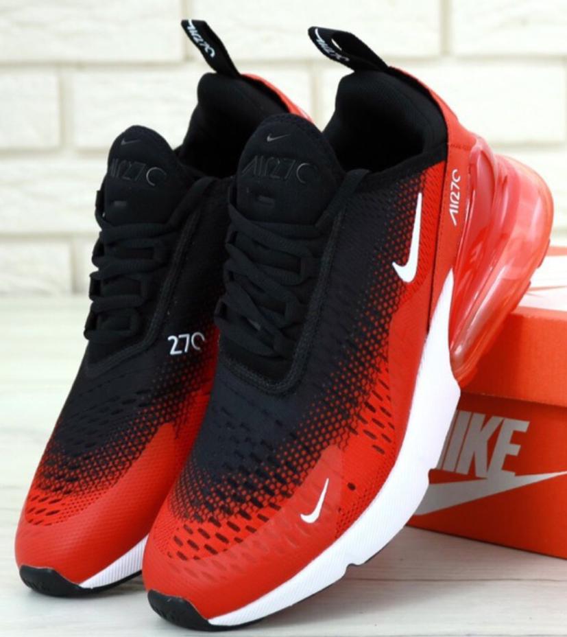 Мужские кроссовки Nike Air Max 270 Black Red, Найк Аир Макс 270 черные