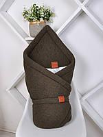 """Вязанный конверт-одеяло  """"Familia"""" (подклад хлопок) хаки, фото 1"""
