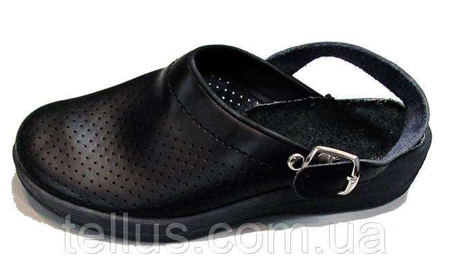 Женские черные кожаные сабо