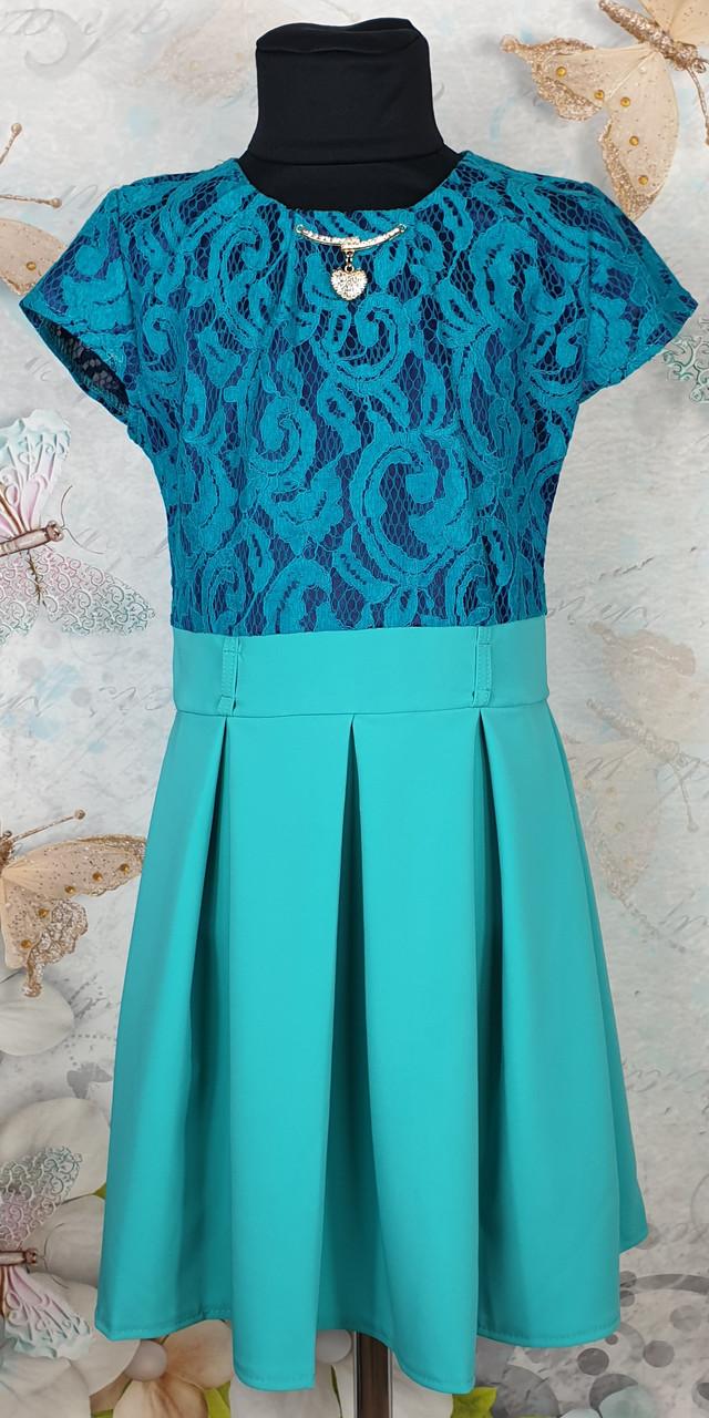 Платье для девочки подросток Зоряна  р.134-152 бирюза
