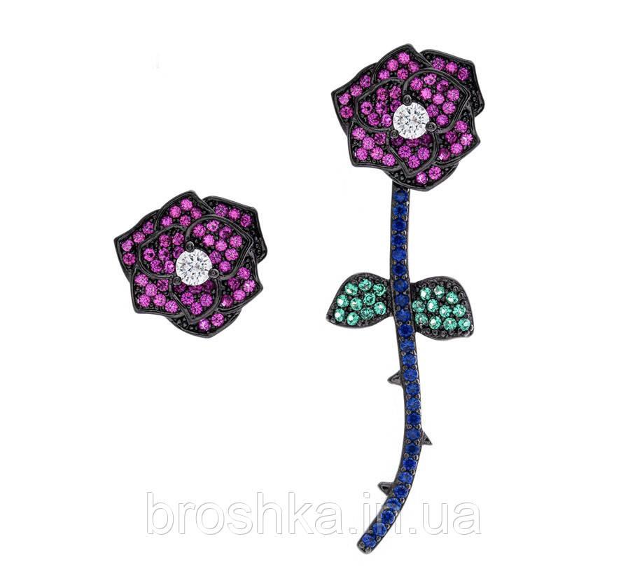 Вечерние асимметричные серьги джекеты розы бижутерия