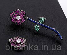 Вечерние асимметричные серьги джекеты розы бижутерия, фото 2