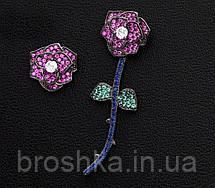 Вечерние асимметричные серьги джекеты розы бижутерия, фото 3
