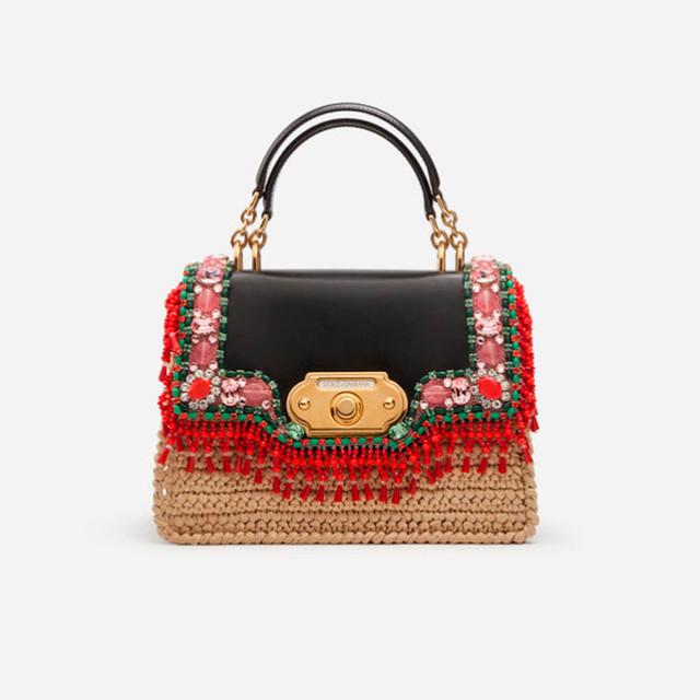 Женская сумочка с вышивкой Welcome от Dolce&Gabbana | вид спереди