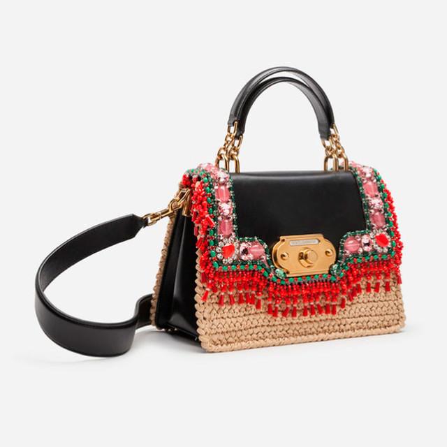 Женская сумочка с вышивкой Welcome от Dolce&Gabbana | вид сбоку