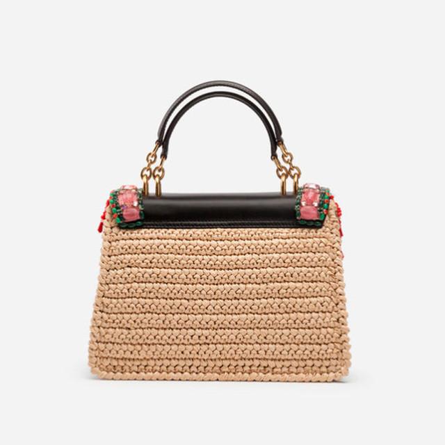 Женская сумочка с вышивкой Welcome от Dolce&Gabbana | вид сзади
