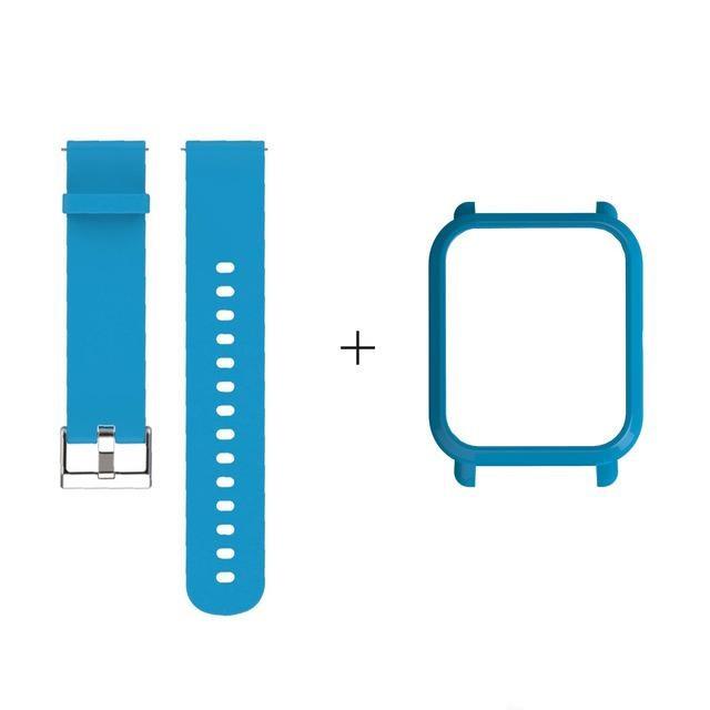 Amazfit Bip Комплект для смарт годин (ремінець і бампер), Light blue