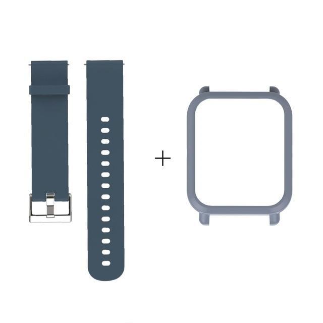 Amazfit Bip Комплект для смарт часов (ремешок и бампер), Gray blue