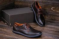 Мужские кожаные туфли в стиле Levis Strauss Choсolate