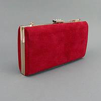 Клатч-бокс сумочка замшевая женская красная