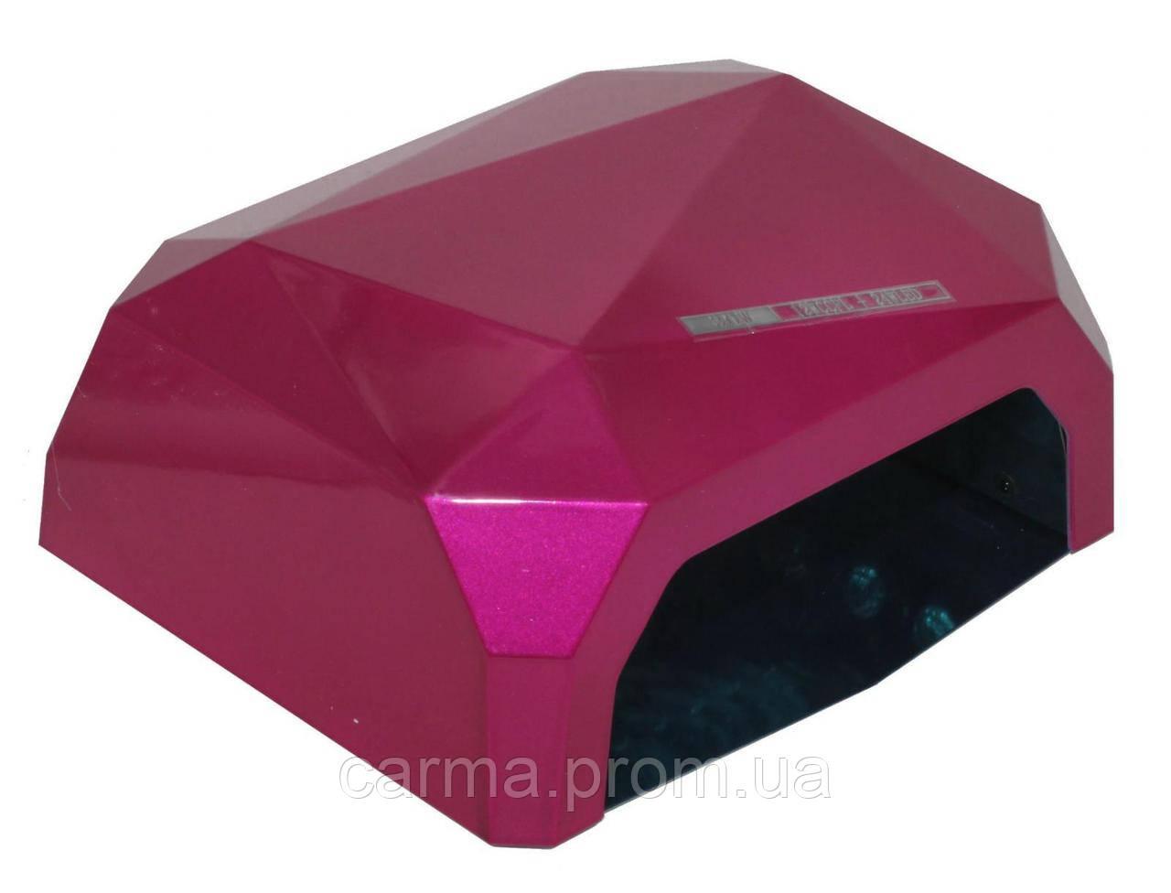 Лампа для маникюра гибридная DIAMOND CCFL+LED 36W Малиновая