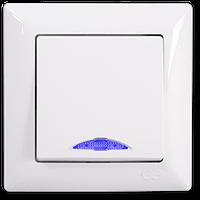 Выключатель 1 кл. с подсветкой Visage, Gunsan (белый и крем)