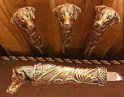 """Набор шампуров с бронзовой ручкой """"Пёс"""" в колчане из кожи, 6шт, фото 2"""