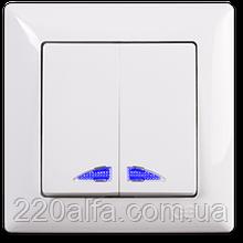 Выключатель 2 кл. с подсветкой Visage, Gunsan (белый и крем)