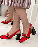 Стильные женские красные туфли Mario Muzi с открытой пяточкой