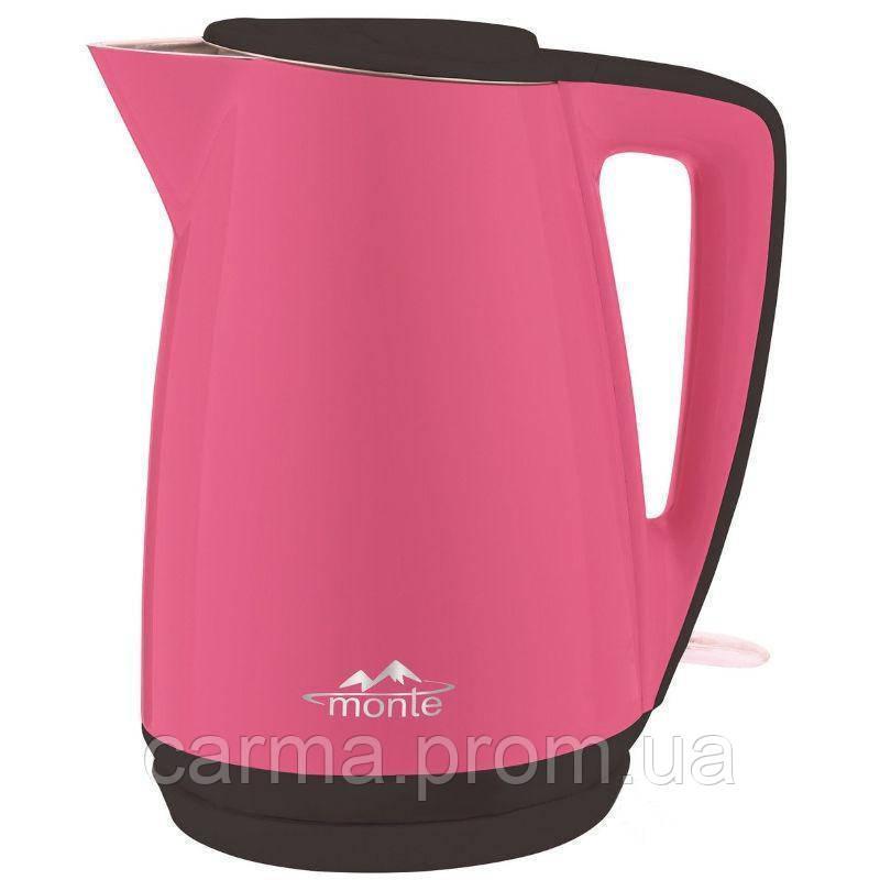 Электрочайник Monte MT 1812 Розовый с черным