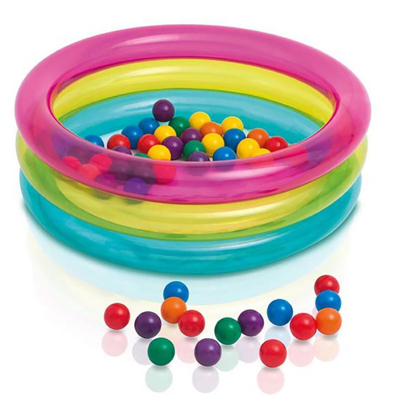 Детский надувной бассейн «Радуга с мячиками» Intex 48674, детские бассейны Интекс