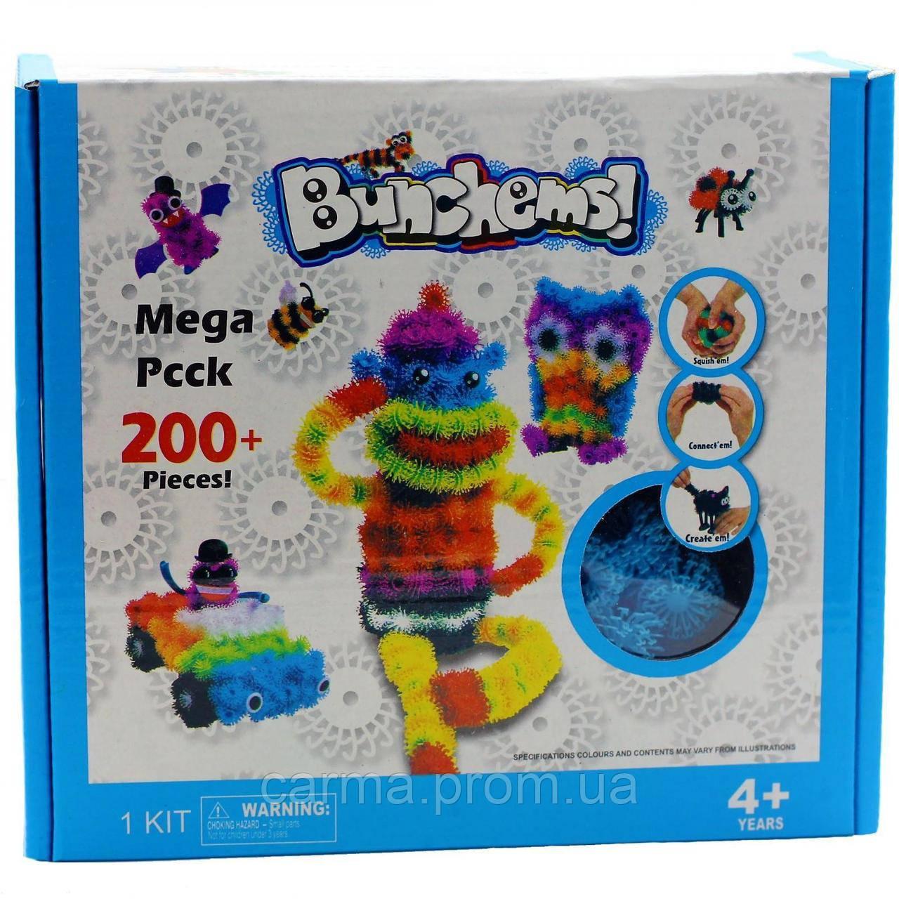 Детский конструктор липучка Bunchems Банчемс 200 Pieces Вязкий пушистый шарик более 200 деталей