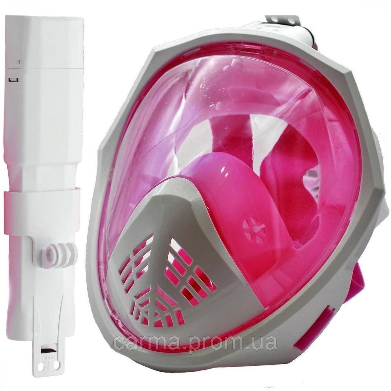 Маска для подводного плавания, для снорклинга панорамная Easybreath с креплением для камеры Розовая