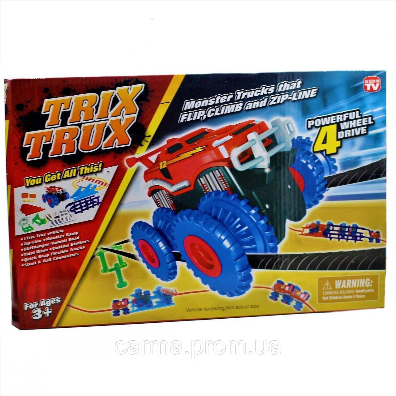 Игровой набор Trix Trux Monster Truk Канатный трек Монстер Трак 1 машинка голубая
