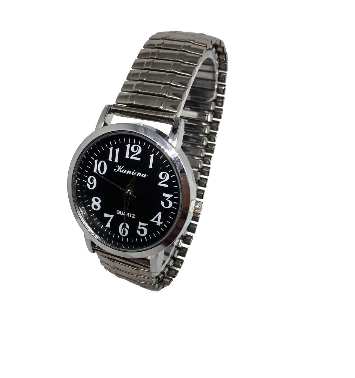 Часы мужские кварцевые Kanima на  браслете  резинка  40мм Черный