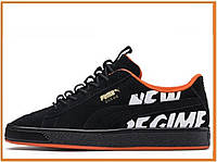 Мужские кроссовки Puma Suede Atelier New Regime Black (пума суеде, черные / оранжевые)